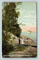 Highgate Springs VT, Lake Champlain, Boardwalk, Vintage Vermont Postcard