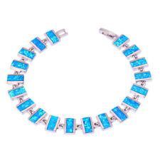 """Blue Fire Opal Silver Fashion Women Jewelry Gemstone Chain Bracelet 7 1/2"""" Os570"""