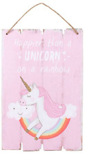 2 Wall Plaques Dance With Fairies & Happier Than a Unicorn Fairy Rainbow Sign