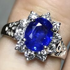 VIVID 1.91CT CEYLON Blue Sapphire & Diamond 18K Solid White GOLD Engagement Ring