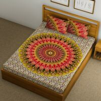 Mandala Screen Printed Decorative Bed Cover with 2 Pillow Cases 100% Cotton