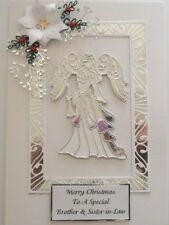 Personalised Handmade Christmas Card with Large Angel and Poinsettia in Silver