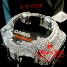 MENS WOMENS CUSTOM G-SHOCK BEZEL 14K WHITE GOLD FINISH DIAMOND SIMULATED GA 100
