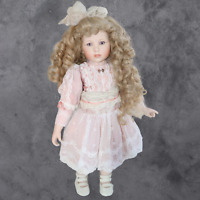 "Porcelain Doll 21"" 321/2500 Adorable with curly blonde locks"