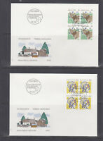 Switzerland Mi 1461/1488, 1992 issues, 8 sets in blocks of 4 on 18 cacheted FDCs
