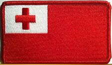 Tonga Flag Patch With VELCRO® Brand Fastener Red Border #29