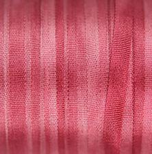 100% Pure Silk Ribbon 4 mm broderie rose Teinté à la main rose pivoine - 3 m