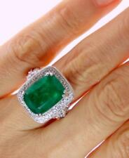 WOW! Certified 8.60CT 100% NATURAL UNTREATED CUSHION EMERALD DIAMOND 14K RING
