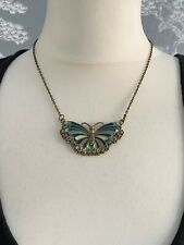 Accessorize Butterfly Necklace Gold Tone Blue Purple Pretty