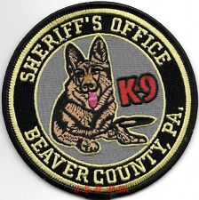 """Beaver County Sheriff  K-9, PA  (4"""" round)  shoulder police patch (fire)"""