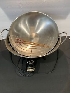 Vintage Farberware Electric Wok aluminum clad Stainless Steel #303 with rack USA
