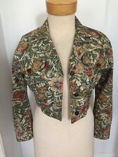 Vintage Paris Blues Tapestry Print Cropped Denim Jacket Size Small EUC