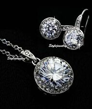 White Gold Filled Round Drop Diamond Bridal Set Made With Swarovski Crystal XS20