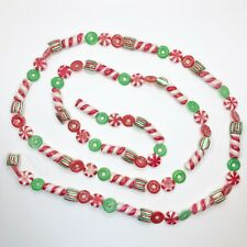 """Vintage Candy Garland Sugared Glitter Mica Candy Cane Mint Lifesaver 120"""""""