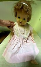 Vtg Hard Plastic Doll Sleep Eyes Open Mouth Teeth Voice Box Cries Cloth Body