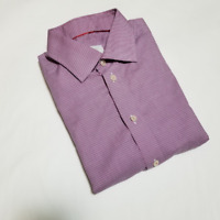 Eton Men's Pink & Blue Micro Checks Contemporary Fit Dress Shirt   Size 16
