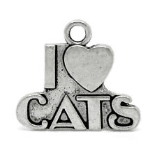 """10 """" I LOVE CATS """" Silver Tone Metal Charms chs0796"""