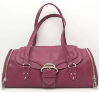 COLE HAAN Alexa Handbag Berry Pink Leather Shoulder Purse Bag with Foldover Top