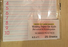 Writing Paper for Kids - Number Practice - 11X 8.5 in, 20 lb, 25 sheets
