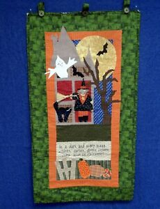 Applique Halloween Witch Cat Ghost House Wall Hanging Quilt Decoration 19x35""