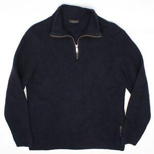 Phil Petter Herren Halb Reißverschluss Pullover M Solid Marineblau aus Wolle IN