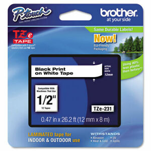 "Genuine Brother TZe-231, 1/2"" Black on White P-Touch TZ tape"