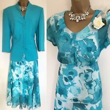 EWM Skirt Suit Jacket Size 14 Blue OCCASION Wedding Mother Of Bride,