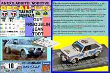 ANEXO DECAL 1/43 TALBOT SUNBEAM LOTUS GUY FREQUELIN RAC RALLY 1980 3rd (01)