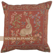 French Tapestry Throw Pillow Cover Rabbit Medieval Red Jacquard Woven Euro 19x19