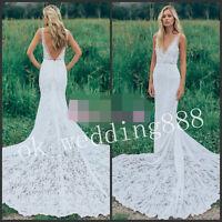 Boho Garden Wedding Dress V Neck Lace Bohemian Bridal Gown Size 6 8 10 12 14++