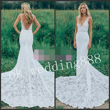 Boho Garden Wedding Dress V Neck Lace Bohemian Bridal Gown Size 6 8 10 12 14++