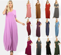 Women's Flowy Maxi T-Shirt Dress Loose Fit w/Pockets Short Sleeve V-Neck Solids