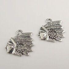40pcs Antiqued Silver Vintage Alloy Indian Head Pattern Pendant Charms 38454