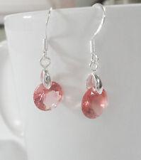 CZ Crystal Rhinestone Zircon Orange-Pink Drop Dangle Sparkly Earrings 925 silver