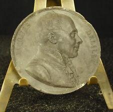 Médaille grès XIX Jacques Delille poète et traducteur français. 41mm Medal