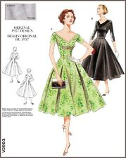 V2903 Sewing Pattern Vintage 1950's Fitted Dress Princess Seams Flared Skirt