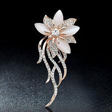 Rhinestone Pin Women's Clothing Opal Stone Flower Accessories Jewelry Brooch