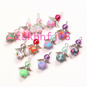 10 New Charms Mixed Glass Dancing Angel Wings Flowers Pendants 24X20mm