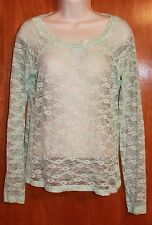 MUDD Jrs. Large LAYERING LACE SHIRT (mint green w/ long sleeves) PERFECT