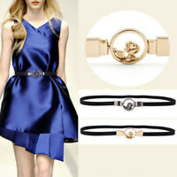 Fashion Women Waist Belt Metal Flower Elastic Waistband Stretch Buckle for Dress