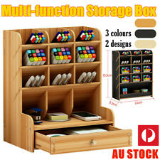 Office Desk Wooden Organizer Brush Storage Container Pen Pencil Holder Tool GIFT