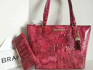 🌹 Brahmin Medium Asher Tote Marbleized Pink Red Petunia Leather Bag+Wallet NWT