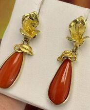 orecchini earrings  CORALLO rosso mediterrane CORAL real gold vero ORO18 KT-750°