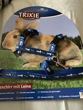 6150 BLACK Trixie Nylon Harness With Lead for RABBIT & GUINEA PIG 25-44cm x 8mm