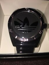 """New"" Adidas Athletic Watch (Black & Platinum) w/ Rubber Band"