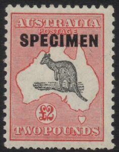 Australia - SM wmk £2 red and grey kangaroo with type D specimen overprint