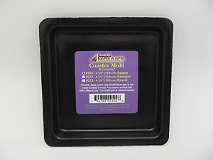 """4 1/4"""" Square Coaster Mold Reusable Durable Plastic Mosaic Supplies One Form"""