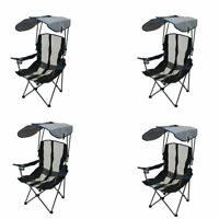 Kelsyus Premium Portable Camping Folding Lawn Chair with Canopy, Navy (4 Pack)
