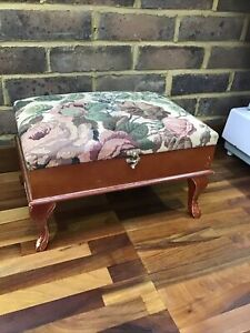 Vintage Queen Anne Style Footstool Sewing/Storage Box