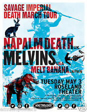 NAPALM DEATH / MELVINS / MELT BANANA 2016 PORTLAND CONCERT TOUR POSTER-Grindcore